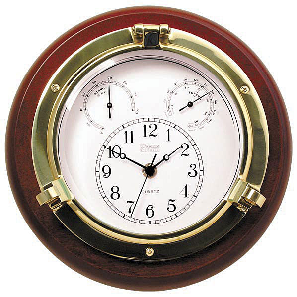 "Brass Porthole Clock / Thermometer / Hygrometer - 10"" by Weems and Plath"