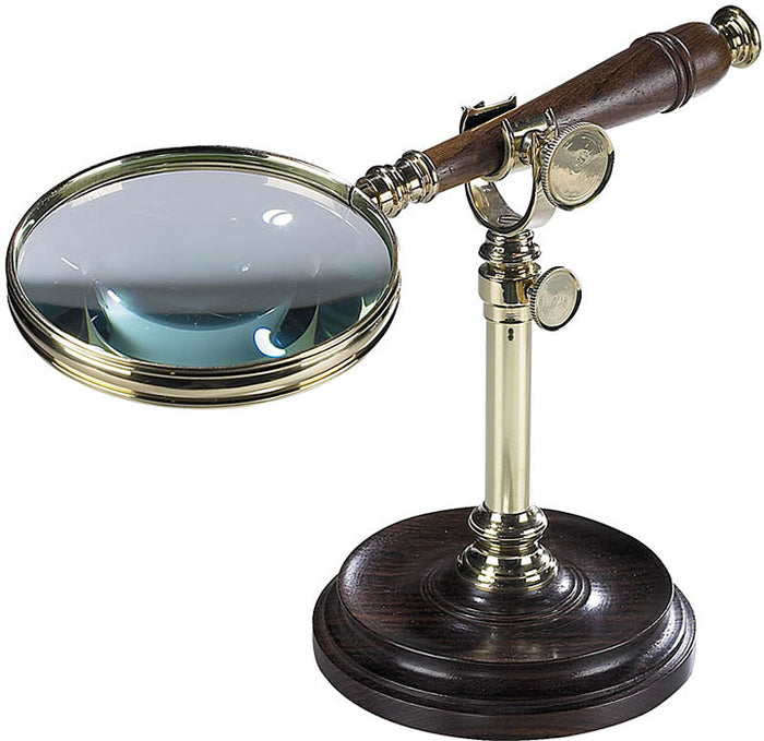Magnifying Glass Brass and Wood with Desk Stand by Authentic Models