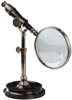 Authentic Models Magnifying Glass Bronze and Wood with Desk Stand