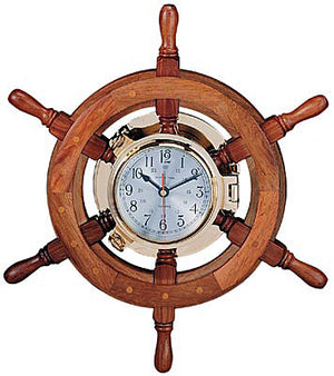 "Nautical Port Hole Wheel Clock - 24"" Diameter."