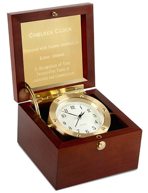Chelsea Boardroom Nautical Wood and Brass Boxed Clock
