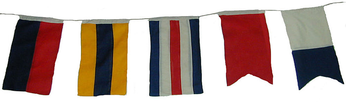 5 Cloth Nautical Signal Flags and Pennants on a String