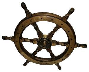 "Deluxe Wood Ship Wheel 24"" -Antiqued Finish"