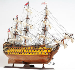 "Assembled HMS Victory Wood Model Ship 38"" Painted"