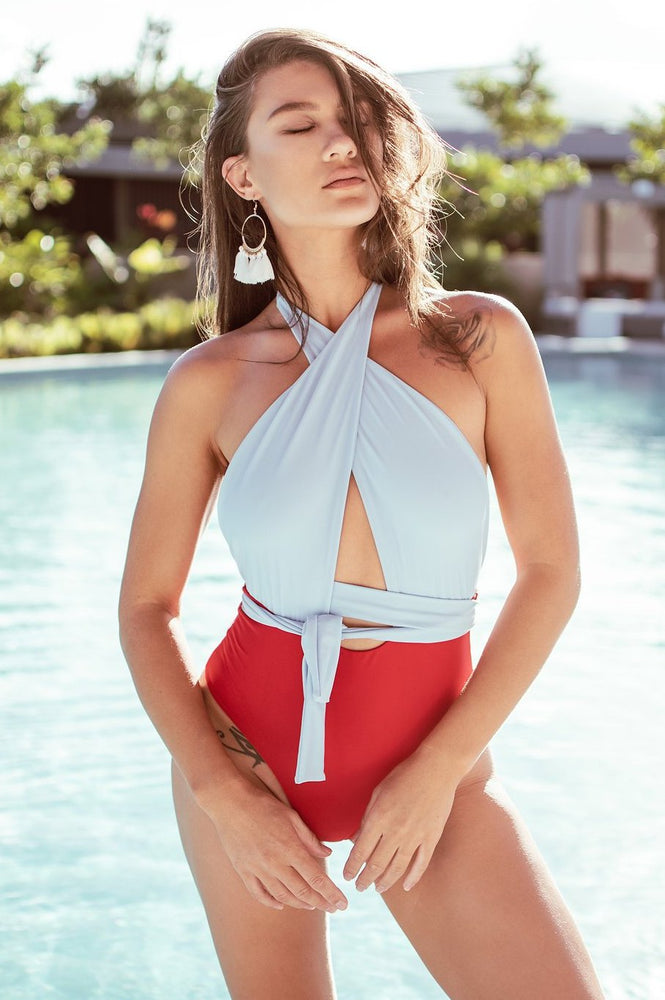 Wrap Halter One Piece - Red & Blue