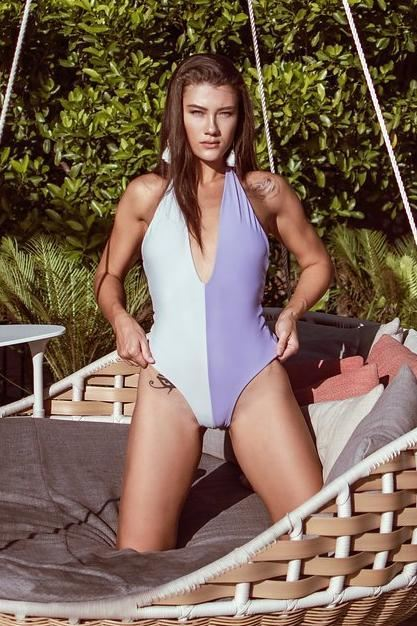 Striped One Piece - Purple & Grey