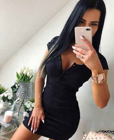 Summer Dress 2018 Fall Women Sexy Casual Knit Sheath Mini Dresses Ladies Solid V Neck Chest Button Short Sleeve Bodycon Dress - Katpurr
