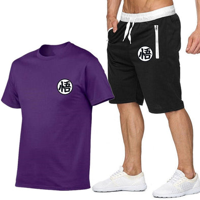 Summer Short Sets Men Casual Suits Sportswear Tracksuit cotton t-shirt+shorts high quality Casual Hip hop print brand clothing - Katpurr