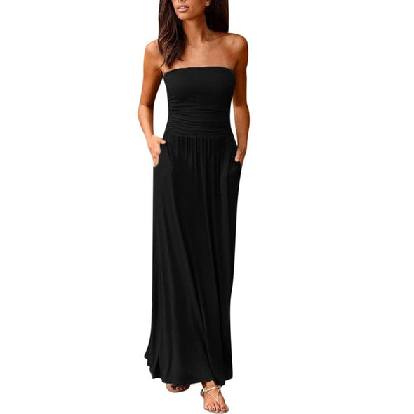 Maxi Dress 2019Top Womens Bandeau Holiday Off Shoulder Long Dress Ladies Summer Solid Sundress Vestidos Robe Femme - Katpurr