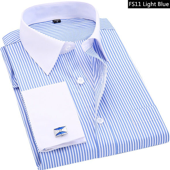 High Quality Striped Men French Cufflinks Casual Dress Shirts Long Sleeved White Collar Design Style Wedding Tuxedo Shirt 6XL - Katpurr