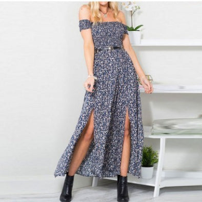 Sexy Strapless Beach Summer Dress Sundresses Vintage Bohemian Maxi Dress Robe Femme Boho Floral Women Split Long Dresses Vestido - Katpurr