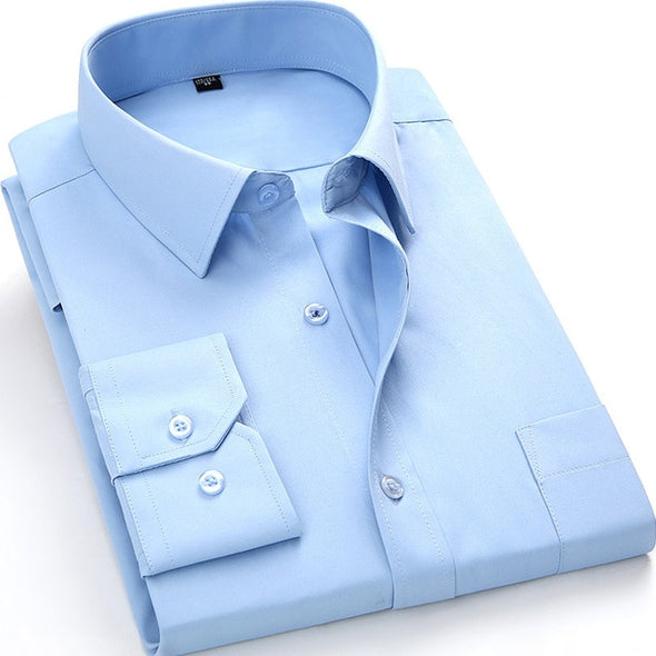 4XL 5XL 6XL 7XL 8XL Large Size Men's Business Casual Long Sleeved Shirt White Blue Black Smart Male Social Dress Shirt Plus - Katpurr