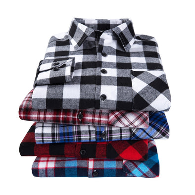2018 New Men's Plaid Flannel Shirt Plus Size 5XL 6XL Soft Comfortable Spring Male Shirt Business Casual Long-sleeved Shirts - Katpurr