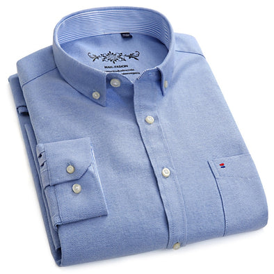 06f701476 Men's Long Sleeve Blue Oxford Dress Shirt with Left Chest Pocket Cotton  Male Casual Solid Button Down Shirts 5XL 6XL Big size