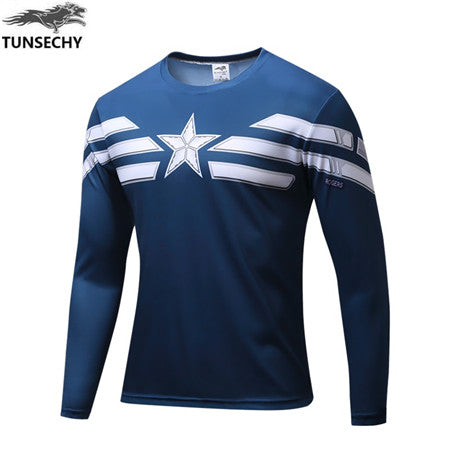 TUNSECHY NEW Marvel Super Heroes Avenger Batman T shirt Men Compression  Base Layer Long Sleeve Thermal Under Top Fitness - Katpurr