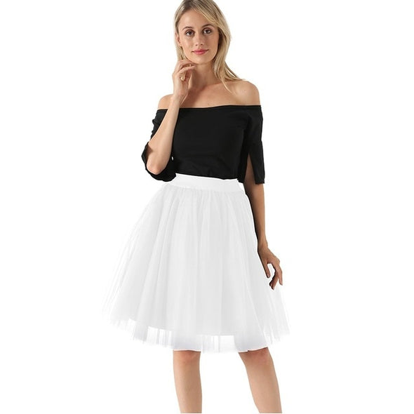 Fashion 5 Layers 60cm Fashion Tulle Skirt Pleated TUTU Skirts Womens Lolita Petticoat Bridesmaids Midi Skirt Jupe Saias faldas - Katpurr