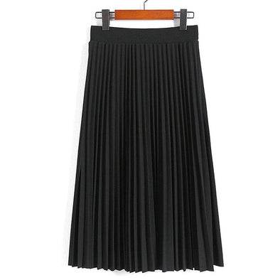 Women Fashion High Waist Pleated Solid Color Ankle Length Skirt All-match chiffon Clothing Lady Casual Stretchy Thicken Skirts - Katpurr