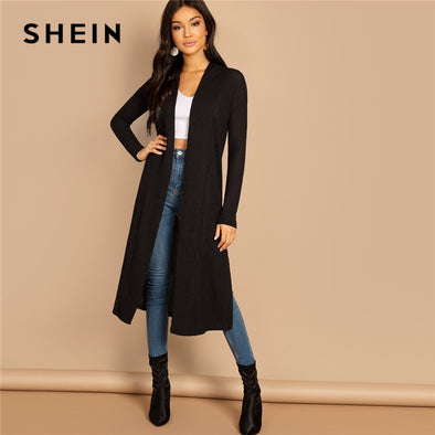 SHEIN Black Split Side Longline Plain Long Sleeve Cardigan Women Outerwear Coat 2019 Spring Cotton Casual High Street Coats - Katpurr