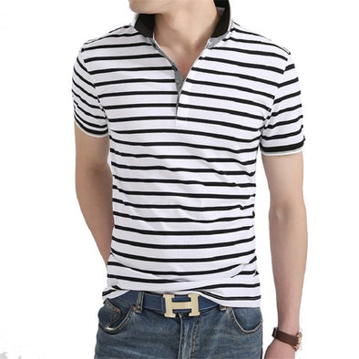 Men Polo Shirt 2019 Summer Men Business Casual Breathable White Striped Short Sleeve Polo Shirt Pure Cotton Work Clothes Polos - Katpurr