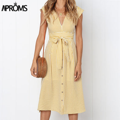 Aproms Vintage Stripe Print Midi Dress Women Elegant Deep V Sash Tie Up Bodycon Dresses Female Summer Streetwear Sundresses 2019 - Katpurr