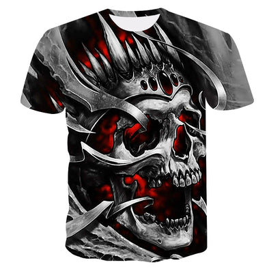 2019 new skull men's casual t-shirt Summer 3D printed round neck cool shirt Street fashion trend youth hip hop Tops T-shirt - Katpurr