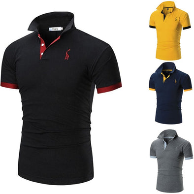 2018 Mens Polo Shirt Brands Male Short Sleeve Casual Slim Solid Color Deer Embroidery Polo shirt - Katpurr