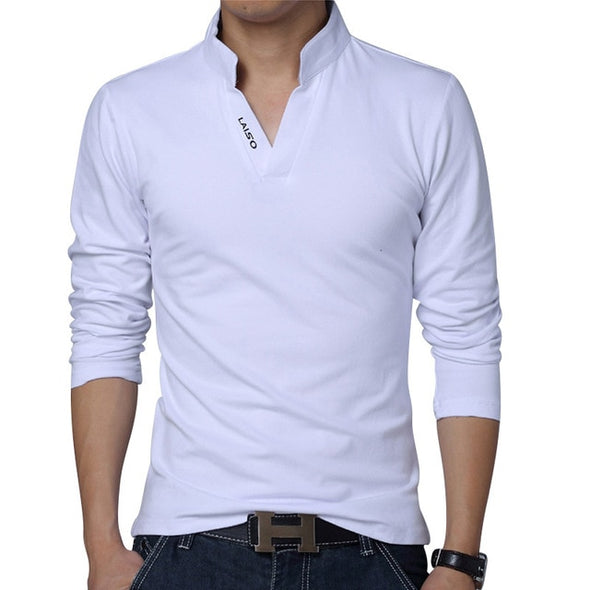 LEFT ROM 2019 fashion men Pure color leisure Long sleeve Polo shirt/high-grade male Pure cotton comfortable Slim fit Polo shirt - Katpurr
