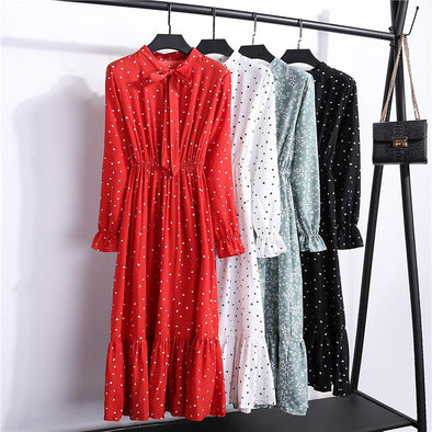 2019 Autumn Women Dress For Ladies Long Sleeve Polka Dot Vintage Chiffon Shirt Dress Casual Black Red Floral Winter Midi Dress - Katpurr