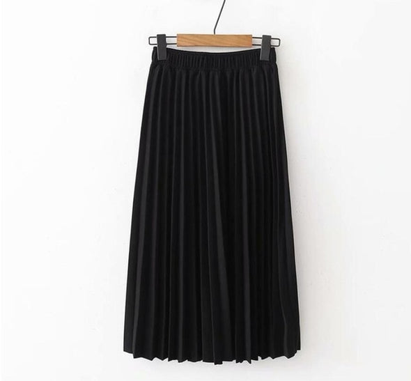 2019 Spring Summer Women High Waist Skirt Solid Color Pleated Skirt Women Causal Midi Skirts - Katpurr