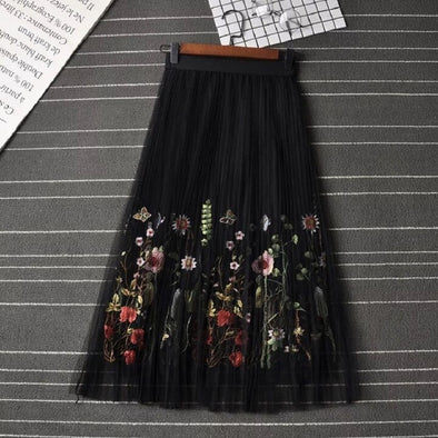 2019 New Puff Women Mesh Tulle long Skirt Fashion Vintage Pleated Floral Embroidery Elegant Female Tutu Mid-Calf Skirts - Katpurr