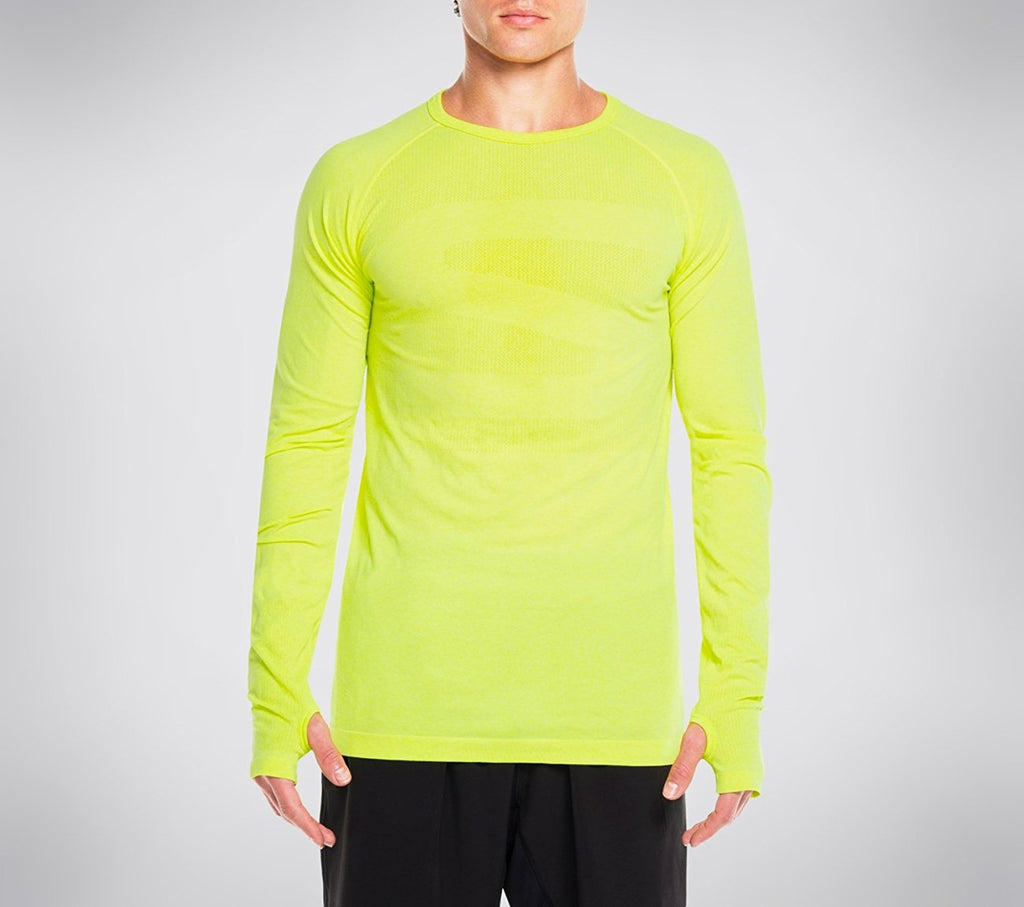 Skechers Men's Pacific Seamless First Layer Long Sleeve Tee Shirt,Yellow,US M/L