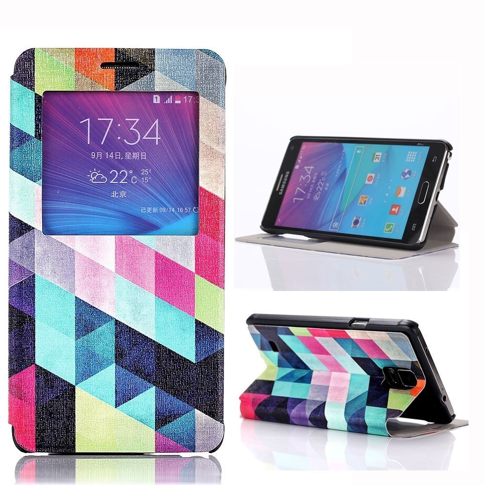 Samsung Note4 Case,view Windows Rhombus Pattern Premium Pu Leather Flip Protective Skin Case with Magnetic Closure for Samsung Note4 (Rhombus)