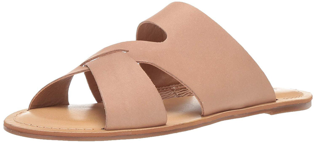 Lucky Brand Women's Leelan Leather Open Toe Slip On Flat Slide Sandal