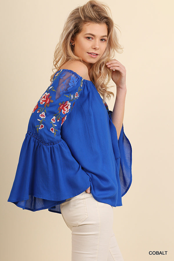 Off Shoulder Top with Embroidered Bell Sleeves