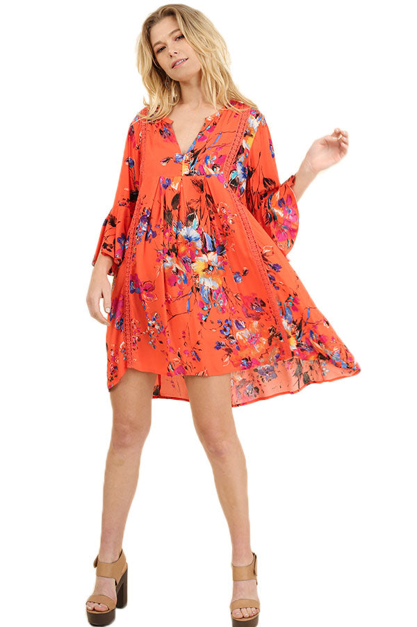 Floral Print Babydoll Dress with Bell Sleeves