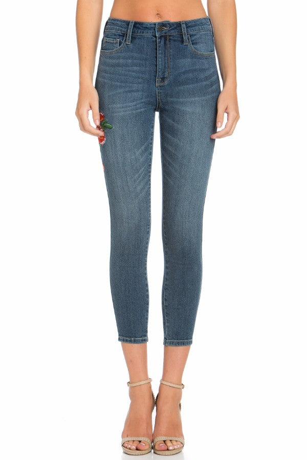 High Rise Rose Embroidered Cropped Skinny Jean