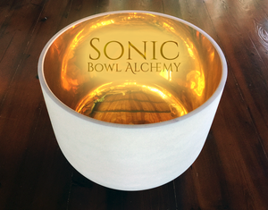 "24K Gold Inlay Frosted Crystal Bowl (14"")"