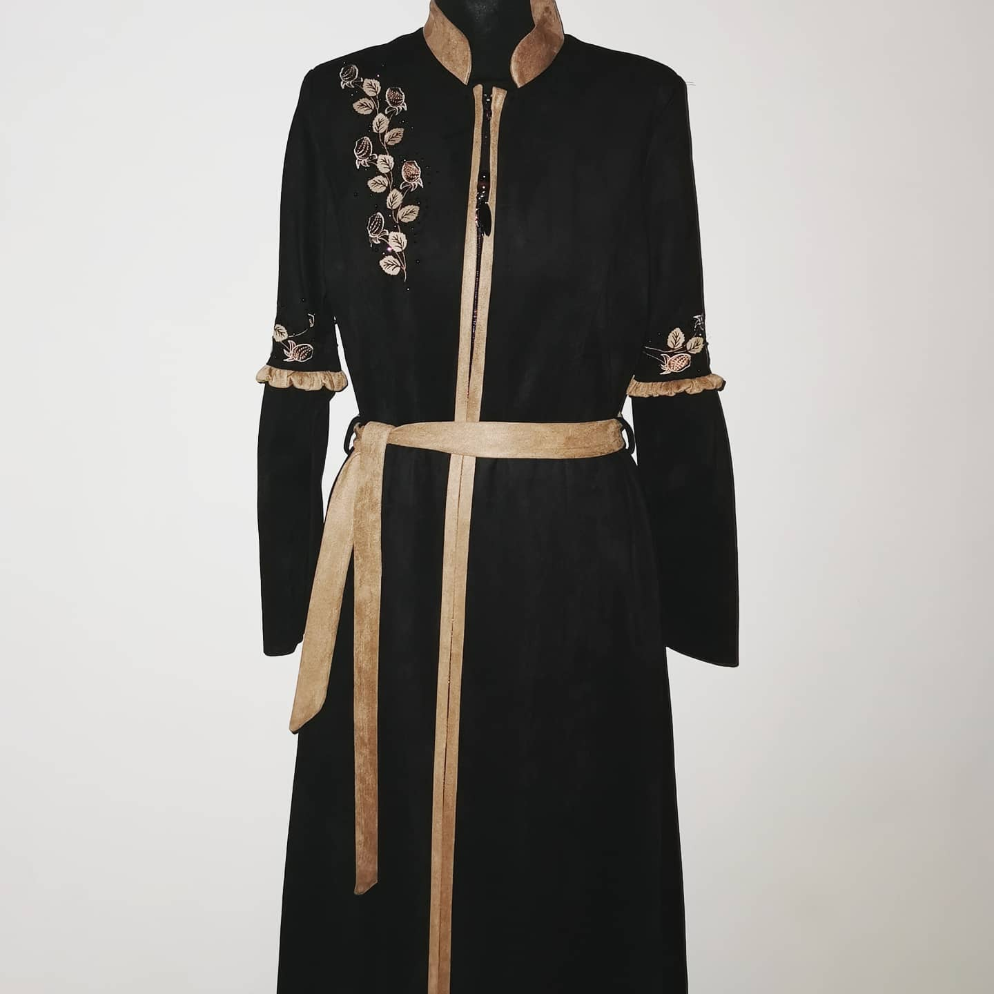 Suede Embroidered Coat