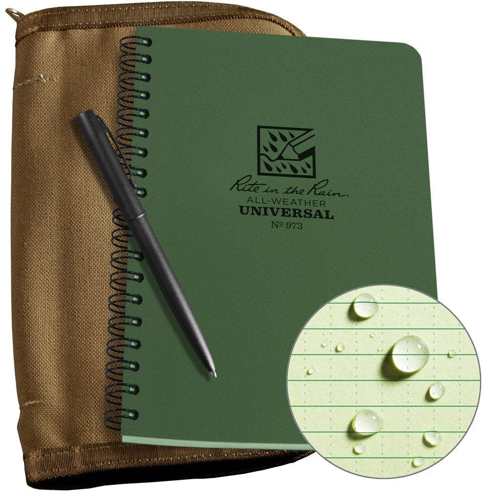 "Rite in the Rain Weatherproof Side Spiral Kit: Tan CORDURA Fabric Cover, 4 5/8"" x 7"" Green Notebook, and Weatherproof Pen (No. 973-KIT)"