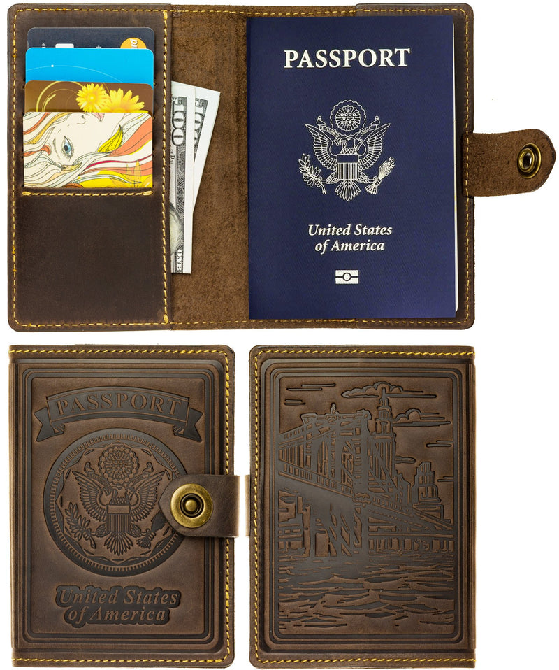 Villini - Leather RFID Blocking US Passport Holder Cover ID Card Wallet - Travel Case (Brown Vintage)