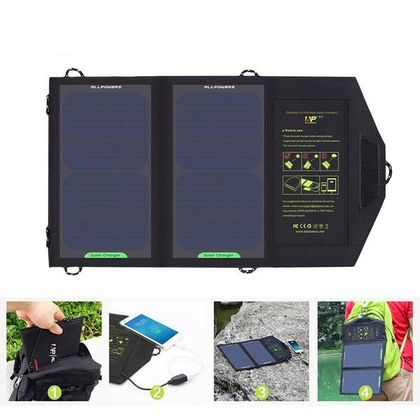 Portable 10-Watt Solar Powered Dual USB Phone Charger