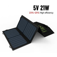 Portable 21-Watt Solar Powered Dual USB Phone Charger