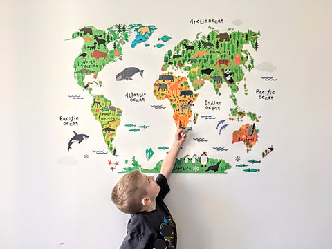 """Little Explorer"" Animal World Map Removable Vinyl Wall Sticker"