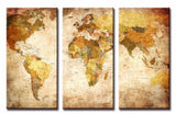 """Travel Triad"" Vintage World Map 3-Panel Canvas Print"