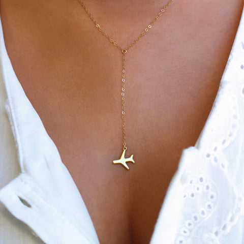 """Fly to You"" Dainty Airplane Pendant"