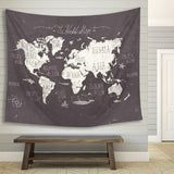 """Whimsical World"" Labeled World Map Wall Hanging"