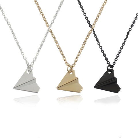 """Fly Away"" Signature Paper Airplane Necklace"