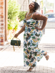 Ava Tropical Print Jumpsuit
