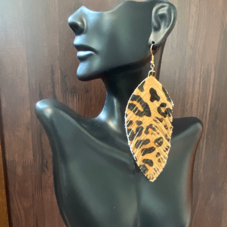 Bria Leather Earrings Leopard
