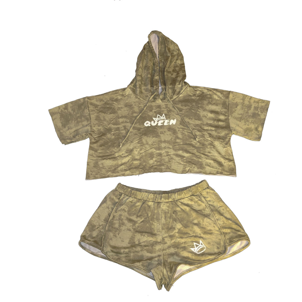Queen Olive Tie Dye Crop Top Set